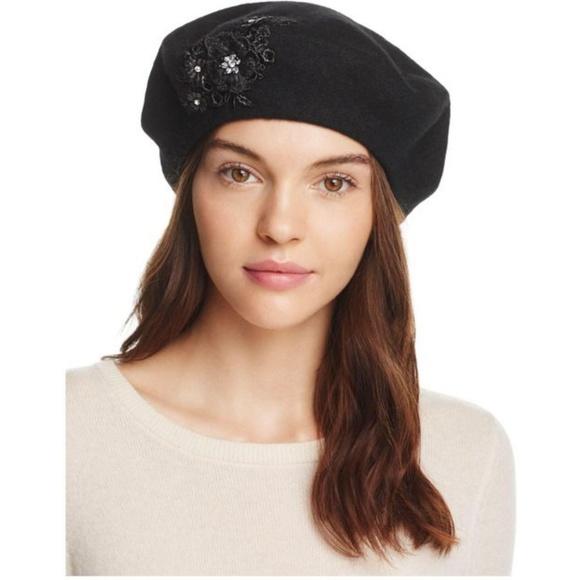 dffe7a73107 August Hat Company Melton Appliqué Beret Hat Black